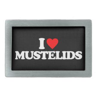 I LOVE MUSTELIDS RECTANGULAR BELT BUCKLE