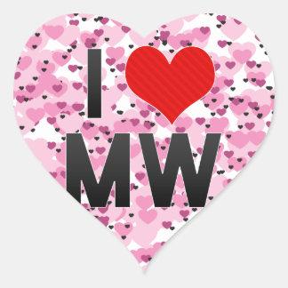 I Love MW Heart Stickers