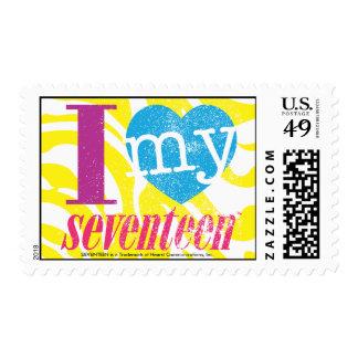 I Love My 17 Aqua Postage Stamp