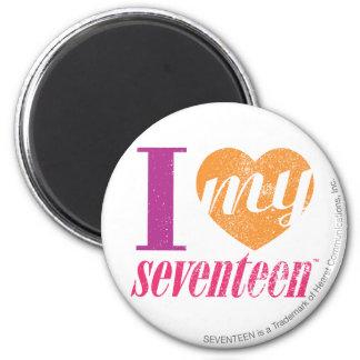 I Love My 17 Orange 2 Inch Round Magnet