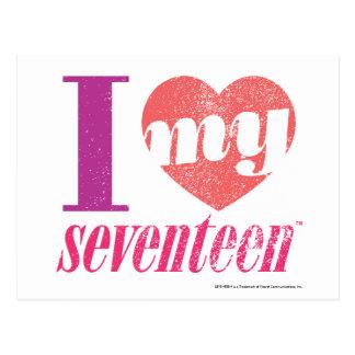 I Love My 17 Pink Postcard