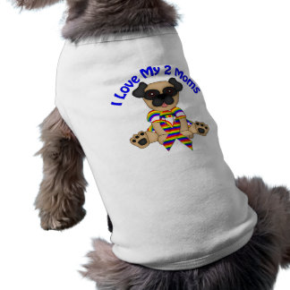 I Love My 2 Moms Pug T-Shirt
