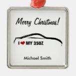 I love my 350z square metal christmas ornament