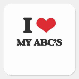 I Love My Abc'S Square Sticker
