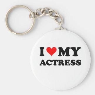 I Love My Actress Basic Round Button Keychain