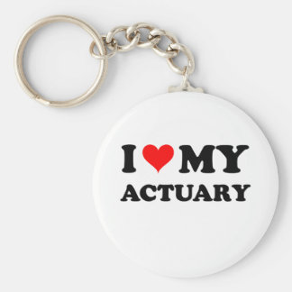 I Love My Actuary Keychain