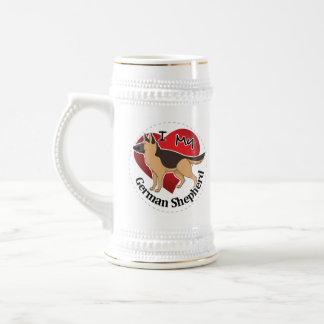 I Love My Adorable Funny & Cute German Shepherd Beer Stein