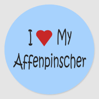 I Love My Affenpinscher Dog Gifts and Apparel Classic Round Sticker
