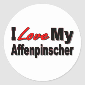 I Love My Affenpinscher Dog Merchandise Classic Round Sticker