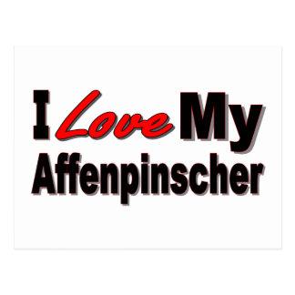 I Love My Affenpinscher Dog Merchandise Postcard