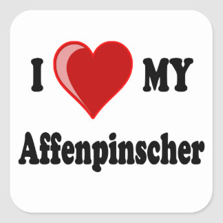 I Love My Affenpinscher Dog Square Sticker