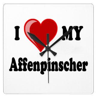 I Love My Affenpinscher Dog Square Wall Clock