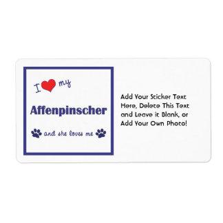 I Love My Affenpinscher (Female Dog) Label