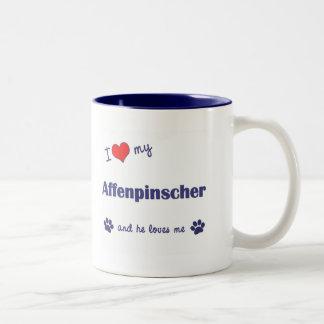 I Love My Affenpinscher (Male Dog) Two-Tone Coffee Mug
