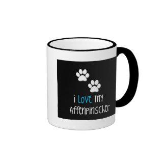 I Love My Affenpinscher Simple Paw Ringer Coffee Mug