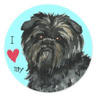 I Love my Affenpinscher Stickers