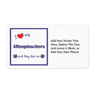 I Love My Affenpinschers (Multiple Dogs) Label