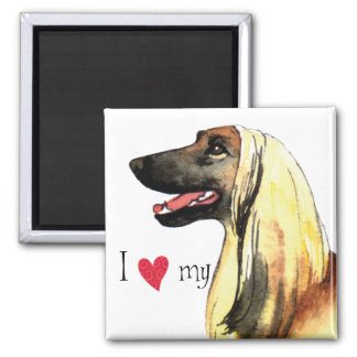 I Love my Afghan Hound 2 Inch Square Magnet