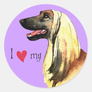 I Love my Afghan Hound Classic Round Sticker
