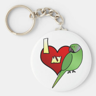 I Love my African Ringneck Parakeet Keychain