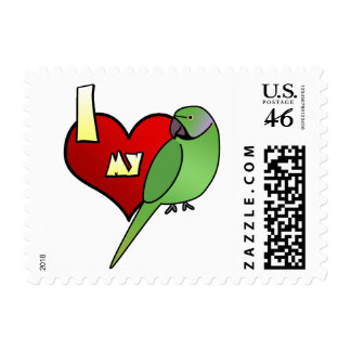 I Love my African Ringneck Parakeet Postage Stamps