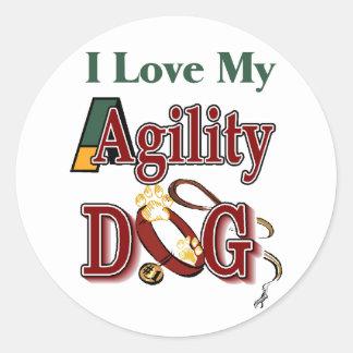 i love my agility dog round sticker