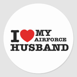I love my air force husband classic round sticker