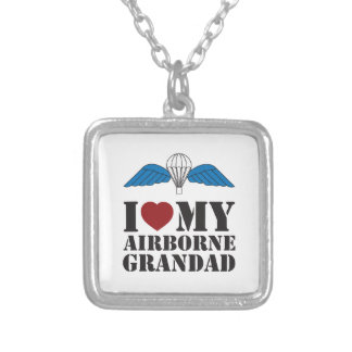 I LOVE MY AIRBORNE GRANDAD SILVER PLATED NECKLACE