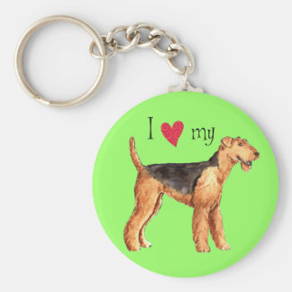 I Love my Airedale Keychain
