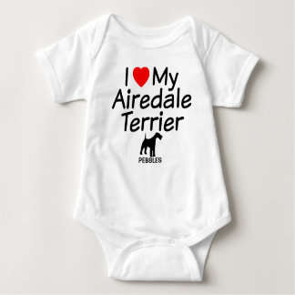 I Love My Airedale Terrier Dog Baby Bodysuit