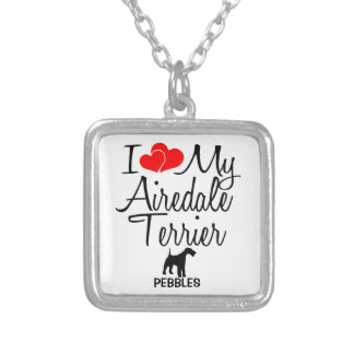 I Love My Airedale Terrier Dog Silver Plated Necklace