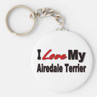 I Love My Airedale Terrier Keychain