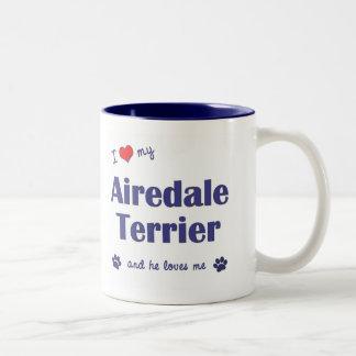 I Love My Airedale Terrier (Male Dog) Two-Tone Coffee Mug