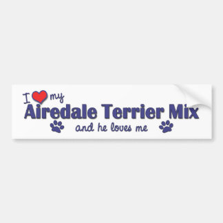 I Love My Airedale Terrier Mix Male Dog Bumper Sticker