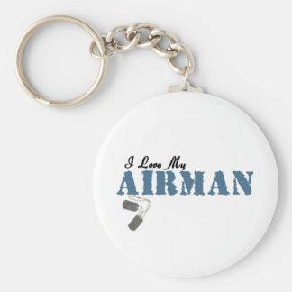 I Love My Airman Basic Round Button Keychain