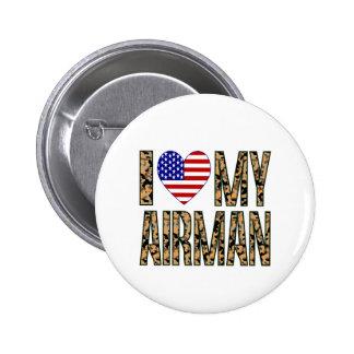 I Love My Airman - Camo Pin