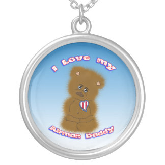I Love My Airman Daddy Round Pendant Necklace