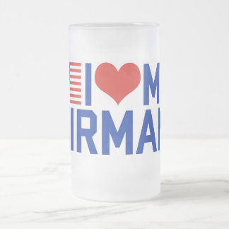 I LOVE MY AIRMAN FROSTED GLASS BEER MUG