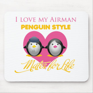 I Love My Airman Penguin Style Mouse Pad