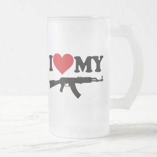 I Love My AK47 Frosted Glass Beer Mug