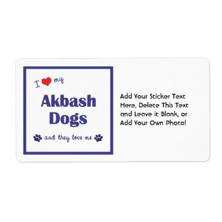 I Love My Akbash Dogs (Multiple Dogs) Label