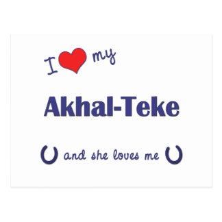 I Love My Akhal-Teke (Female Horse) Postcard