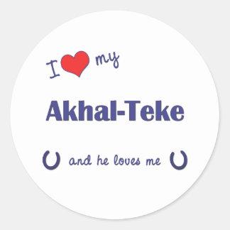 I Love My Akhal-Teke (Male Horse) Classic Round Sticker