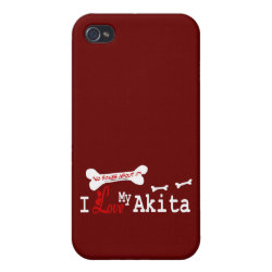 I Love My Akita Cover For iPhone 4