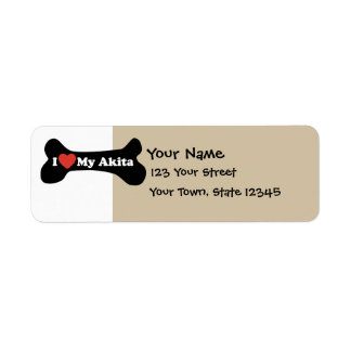 I Love My Akita - Dog Bone Custom Return Address Label