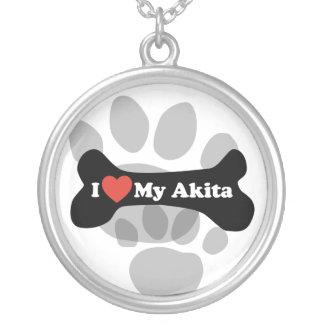 I Love My Akita - Dog Bone Silver Plated Necklace