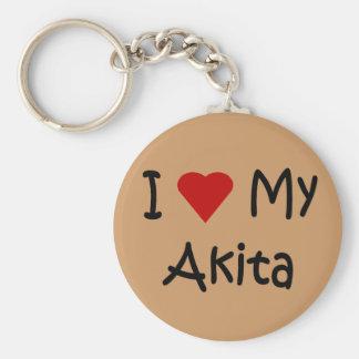 I Love My Akita Dog Gifts and Dog Lover Apparel Keychain