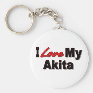 I Love My Akita Keychain