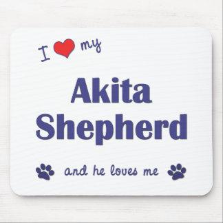 I Love My Akita Shepherd (Male Dog) Mouse Pad