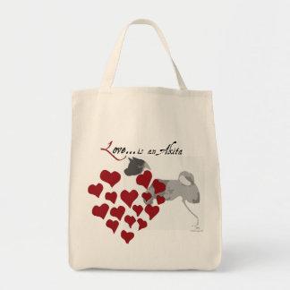 I Love My Akita Tote Bag